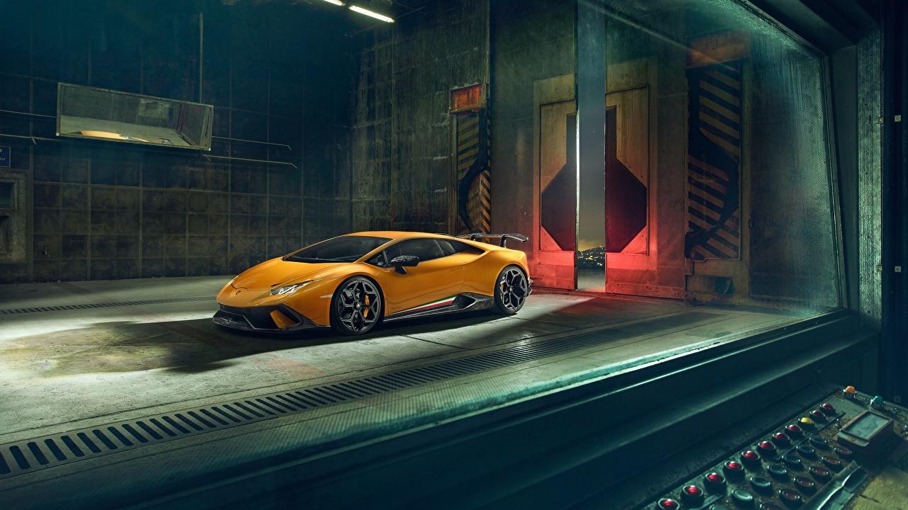 Фотография Ламборгини 2018 Performante Novitec Huracan желтая авто Lamborghini желтых желтые Желтый машина машины автомобиль Автомобили