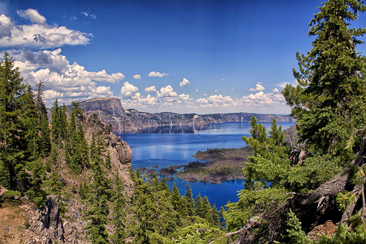 Картинка США Crater Lake National Park Ель гора Природа Небо Озеро Парки Пейзаж облако штаты америка ели Горы парк Облака облачно