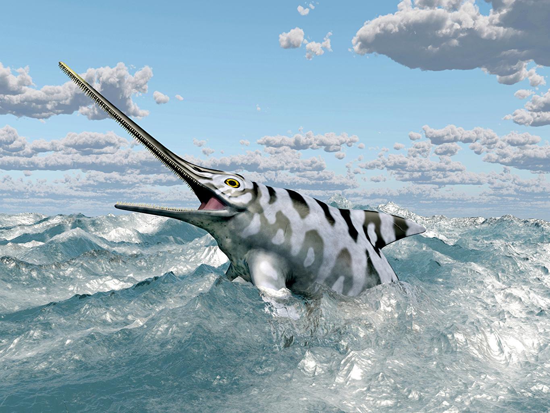 Картинки Рыбы Eurhinosaurus 3д Море Небо облачно животное 3D Графика Облака облако Животные