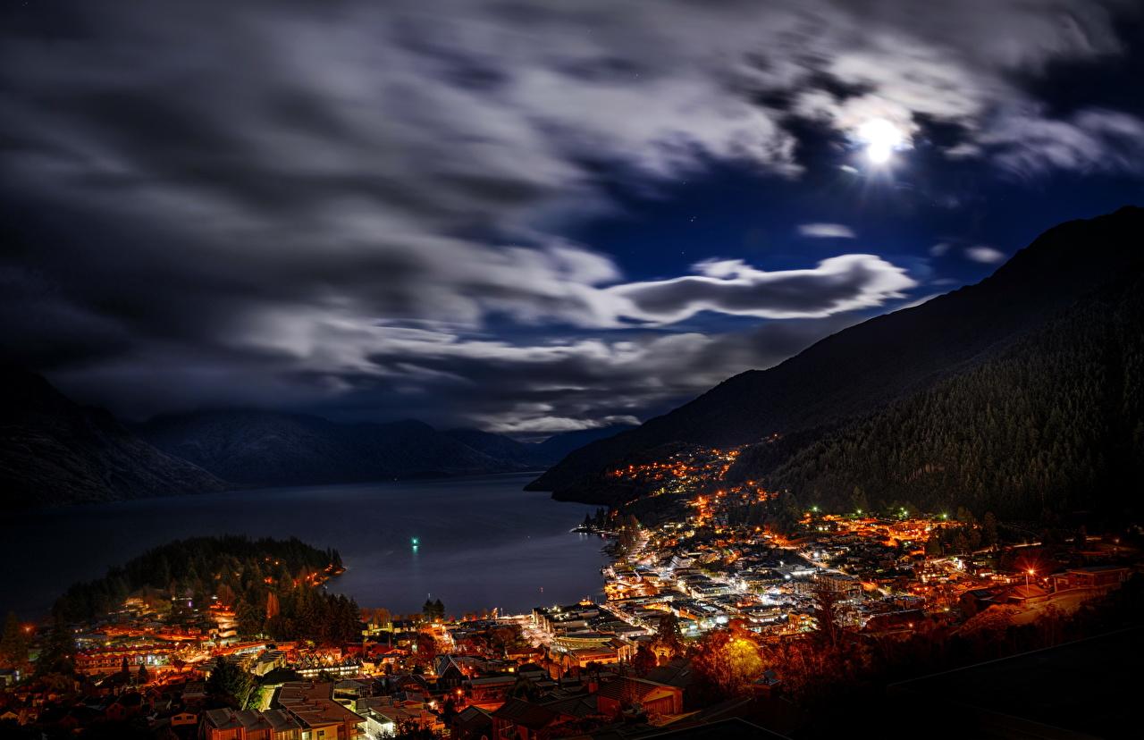 Обои для рабочего стола Новая Зеландия Queenstown Небо Ночь город облачно ночью в ночи Ночные Облака облако Города