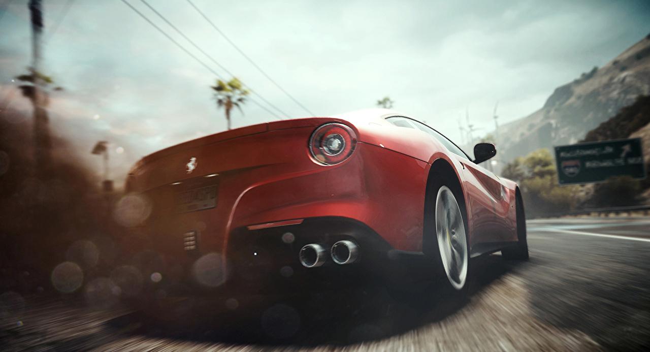 Картинка Need for Speed Ferrari Rivals красная Игры авто вид сзади Феррари Красный красные красных компьютерная игра Сзади машины машина Автомобили автомобиль