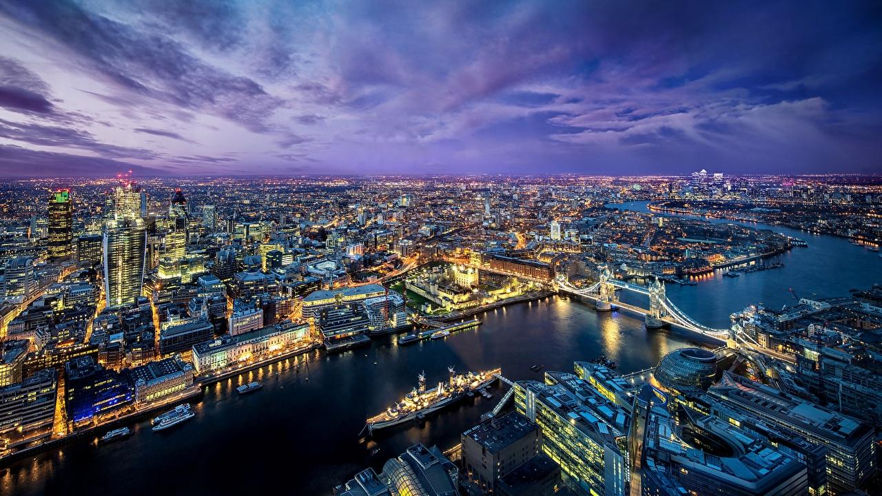 Картинка Лондон Англия Мегаполис мост Реки Вечер Города лондоне мегаполиса Мосты река речка город