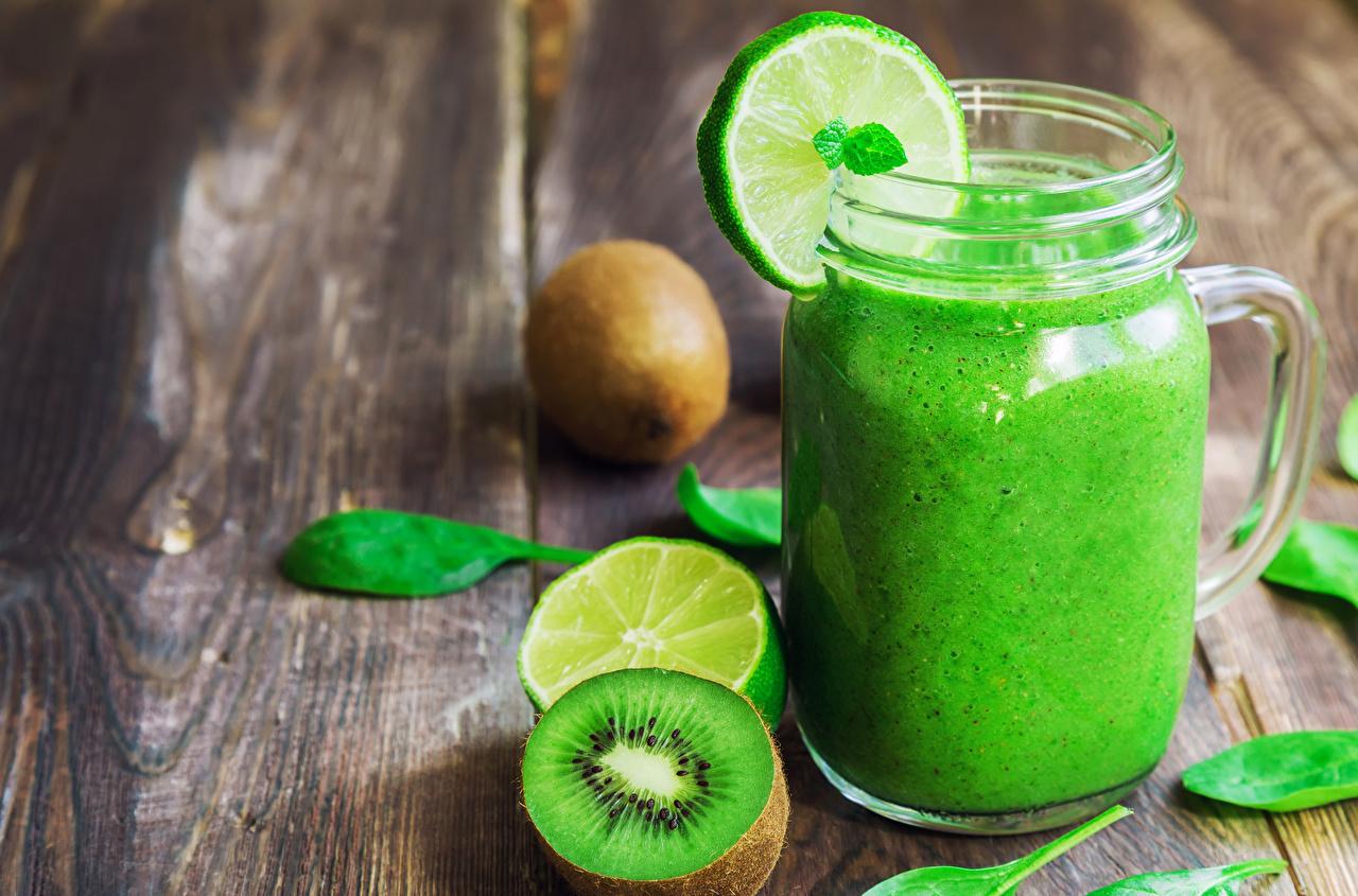 Фотография Киви Лимоны Пища Кружка Коктейль Доски Напитки Еда Продукты питания