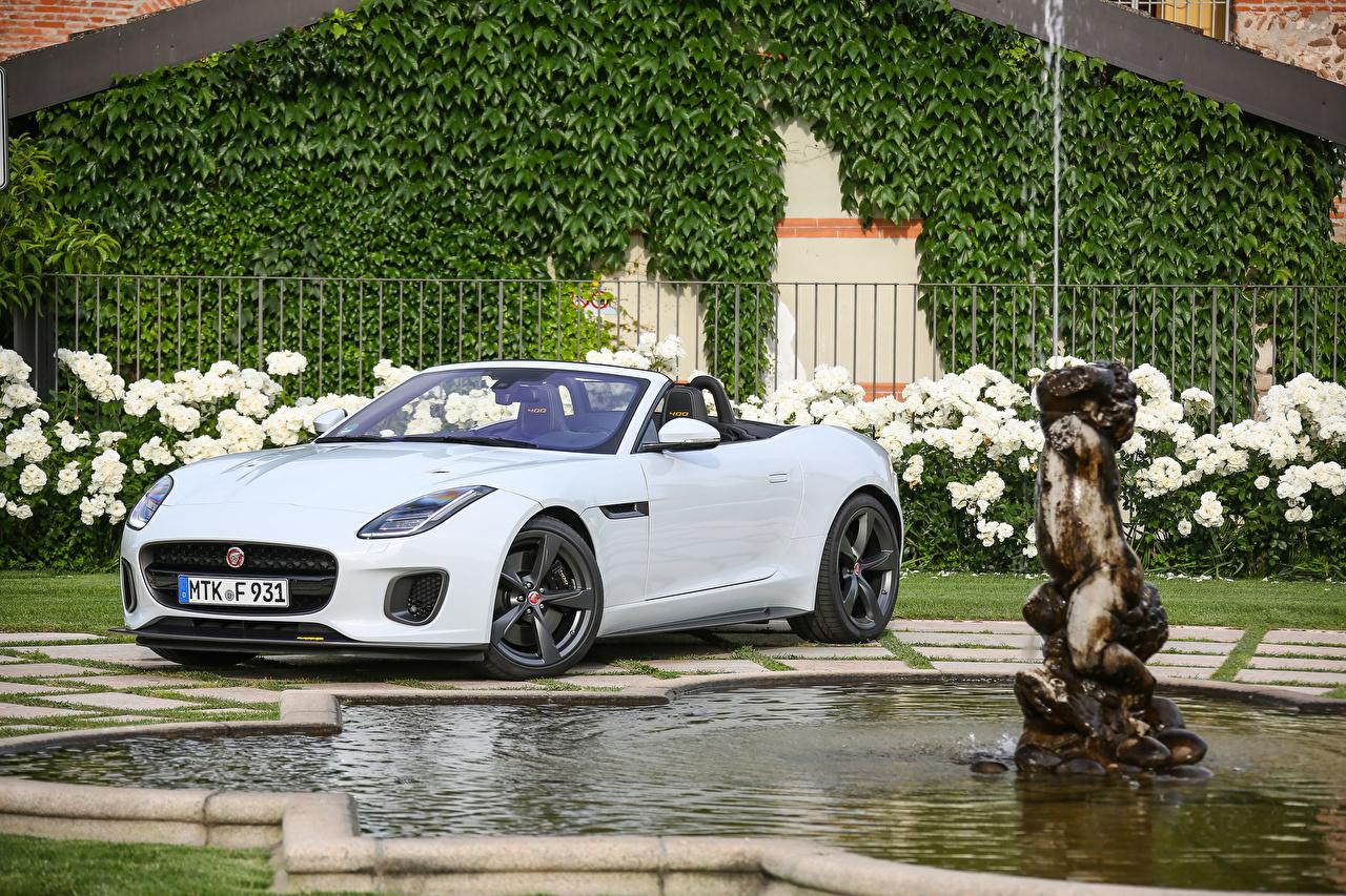 Фотография Jaguar 2017 F-Type 400 Sport Convertible Worldwide кабриолета Белый Металлик Автомобили Ягуар Кабриолет белая белые белых авто машины машина автомобиль