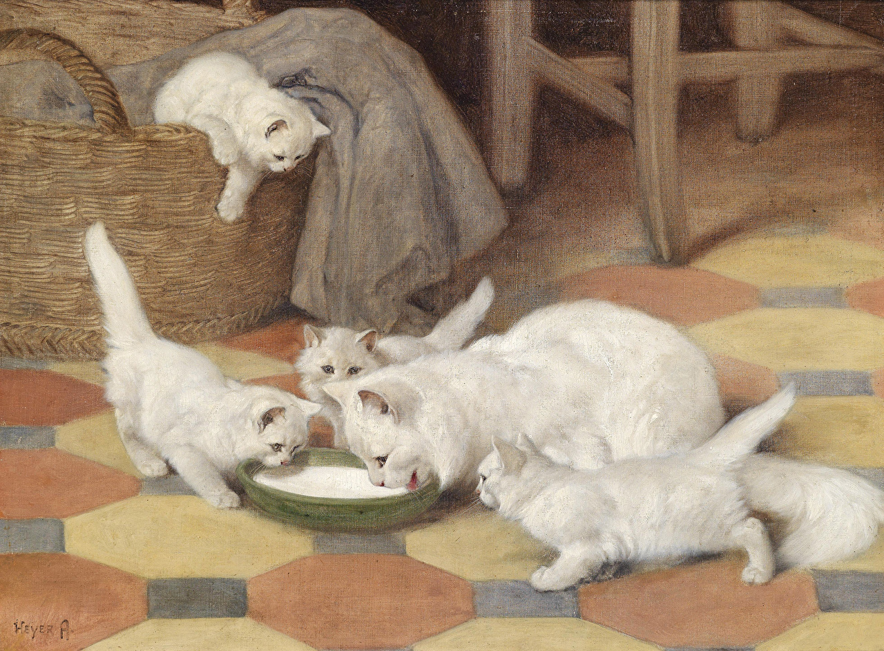 Обои для рабочего стола Пьет Молоко кошка Arthury-Heyer, Mother and kittens drinking milk Блюдце Живопись пить кот коты Кошки блюдца картина