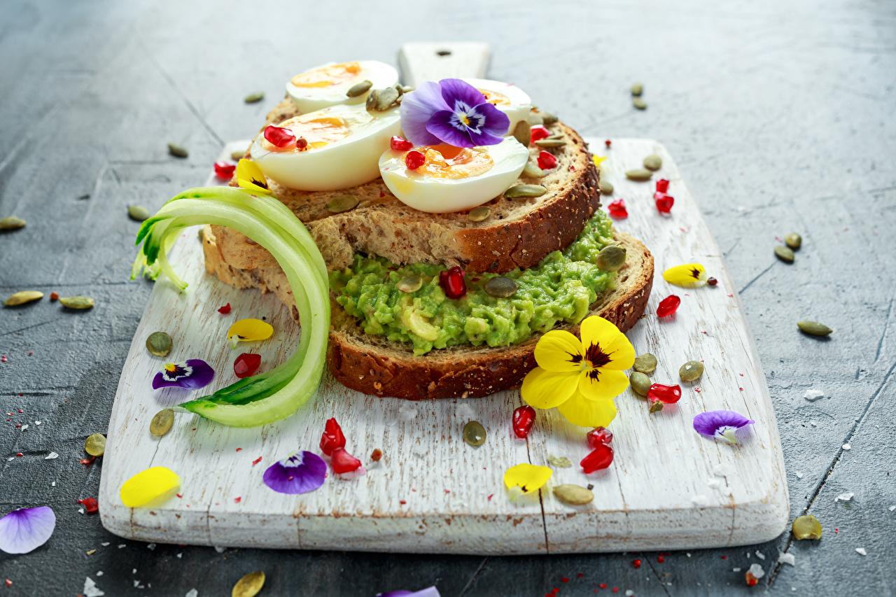 Фото яйцо Сэндвич Фиалка трёхцветная Хлеб Продукты питания разделочной доске яиц Яйца яйцами Анютины глазки Еда Пища Разделочная доска