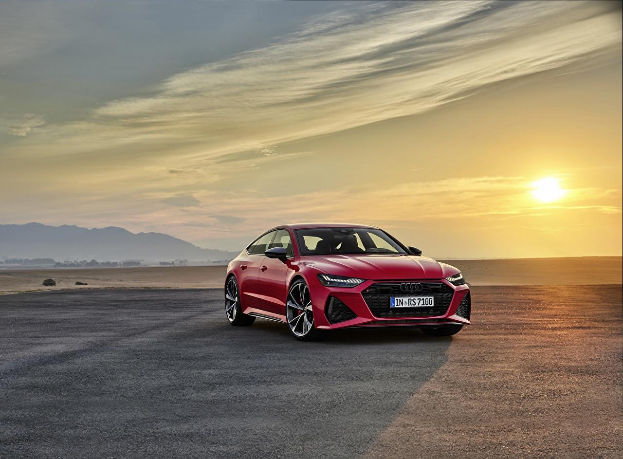 Фото Ауди Sportback, RS7, 2020 красная рассвет и закат машина Металлик Audi Красный красные красных Рассветы и закаты авто машины Автомобили автомобиль