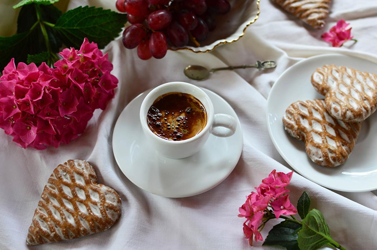 Фото сердца Кофе Капучино Гортензия Еда чашке Блюдце Печенье серце Сердце сердечко Пища Чашка блюдца Продукты питания