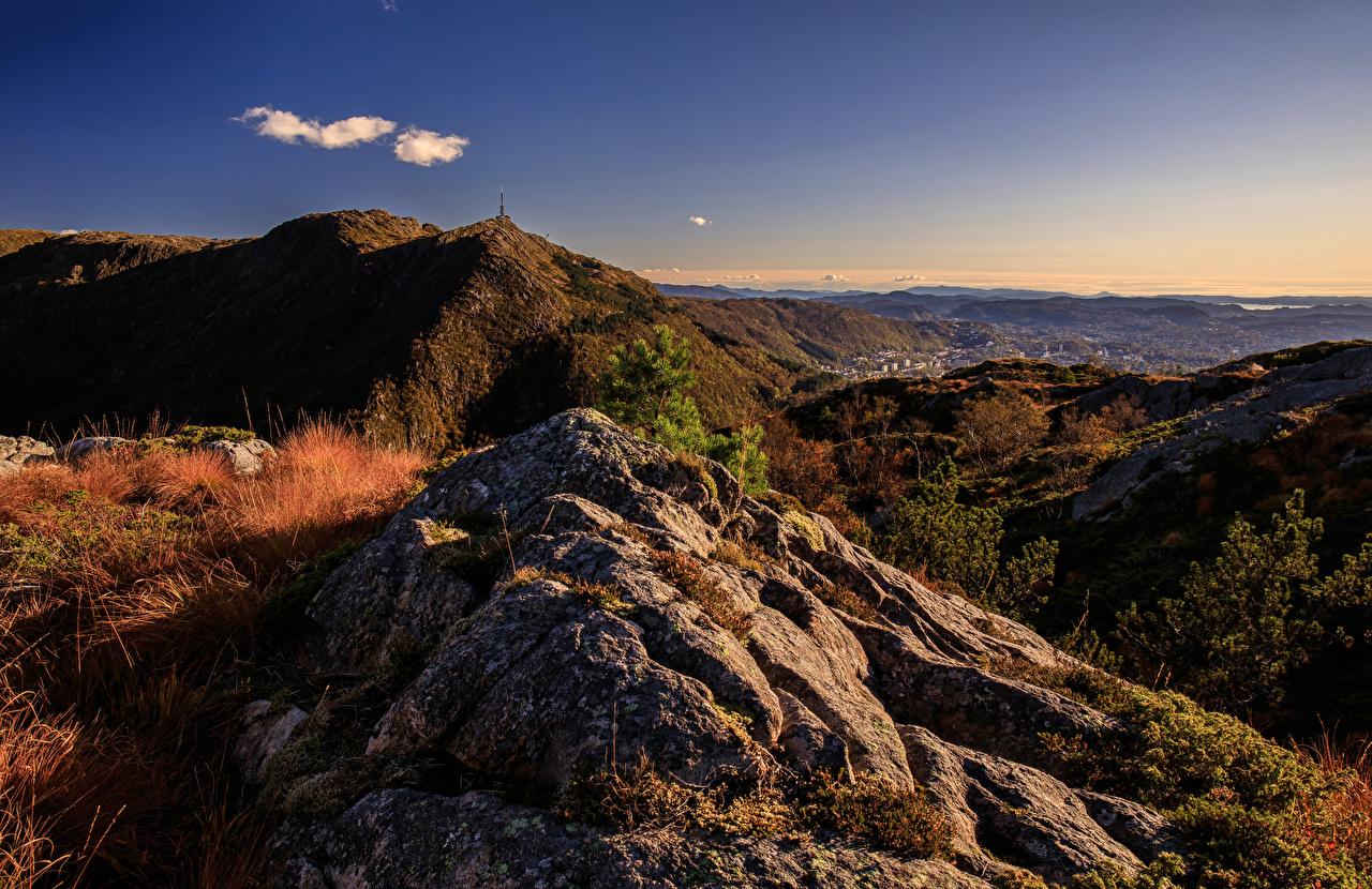 Картинки Норвегия Skansemyren Горы осенние Природа гора Осень
