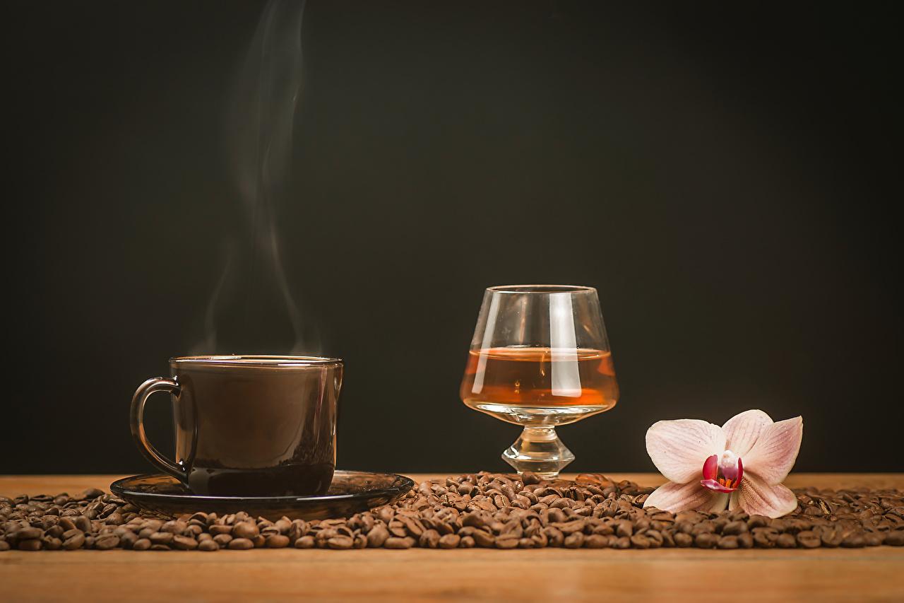 Фото Алкогольные напитки Кофе Орхидеи Зерна Пар Пища Чашка Натюрморт Еда Продукты питания