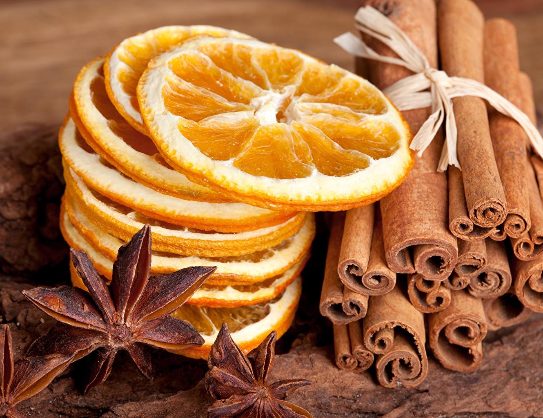 Картинки Апельсин Бадьян звезда аниса Лимоны Корица Еда Крупным планом Пища Продукты питания вблизи