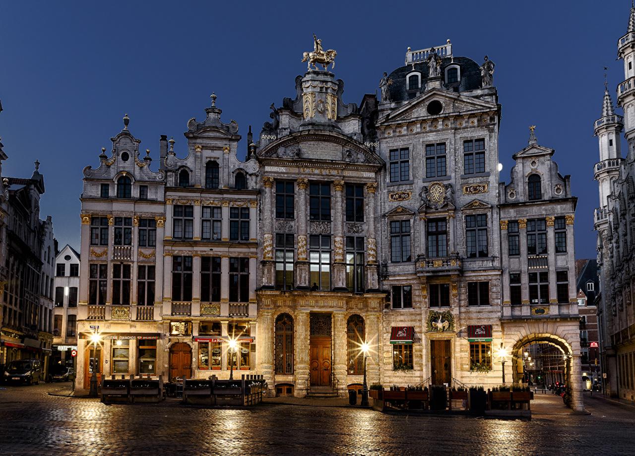 Фотография Бельгия Brussels Ночные Уличные фонари Города Здания Ночь Дома