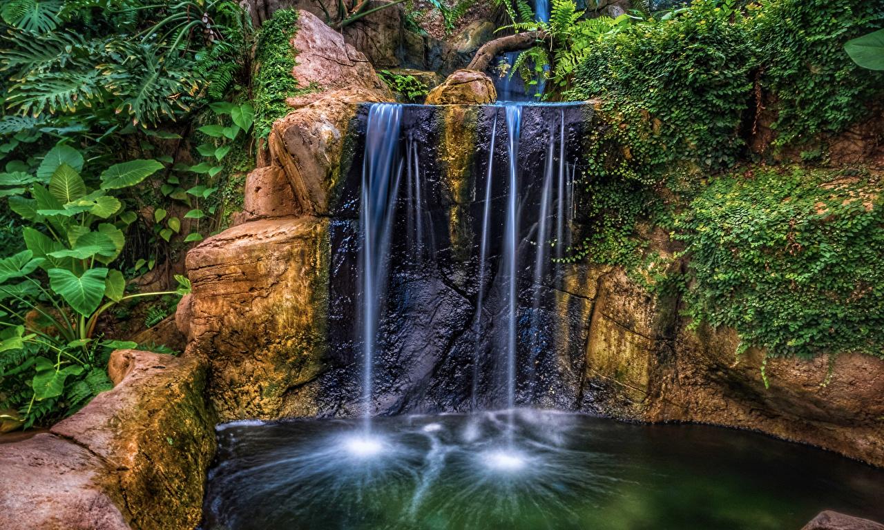 Картинки HDR Скала Природа Водопады Парки HDRI Утес скале скалы