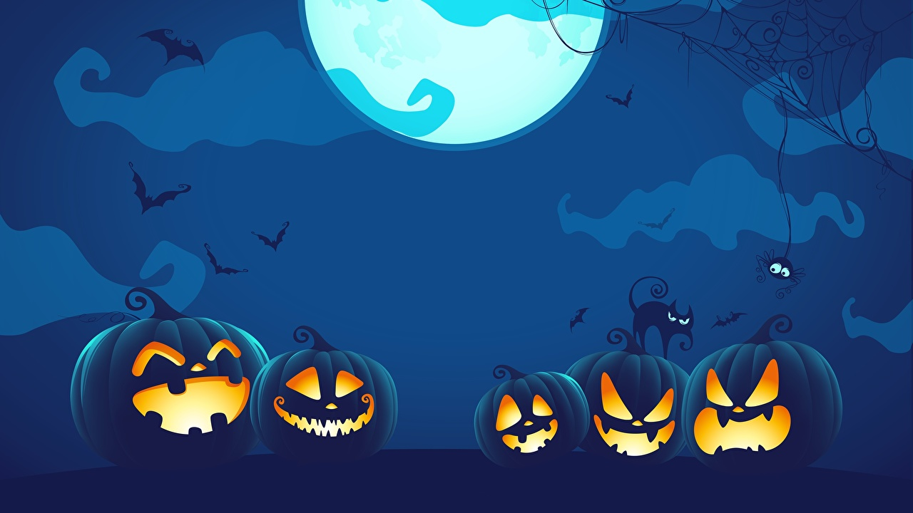 Фотографии Тыква Хеллоуин Луна в ночи Векторная графика хэллоуин луны луной Ночь ночью Ночные