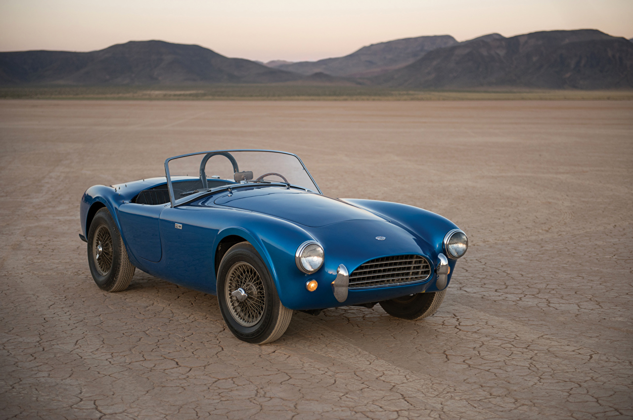 Обои для рабочего стола Shelby Super Cars 1962 Cobra 260 Prototype Кабриолет синяя Ретро авто SSC кабриолета синих синие Синий винтаж старинные машина машины автомобиль Автомобили