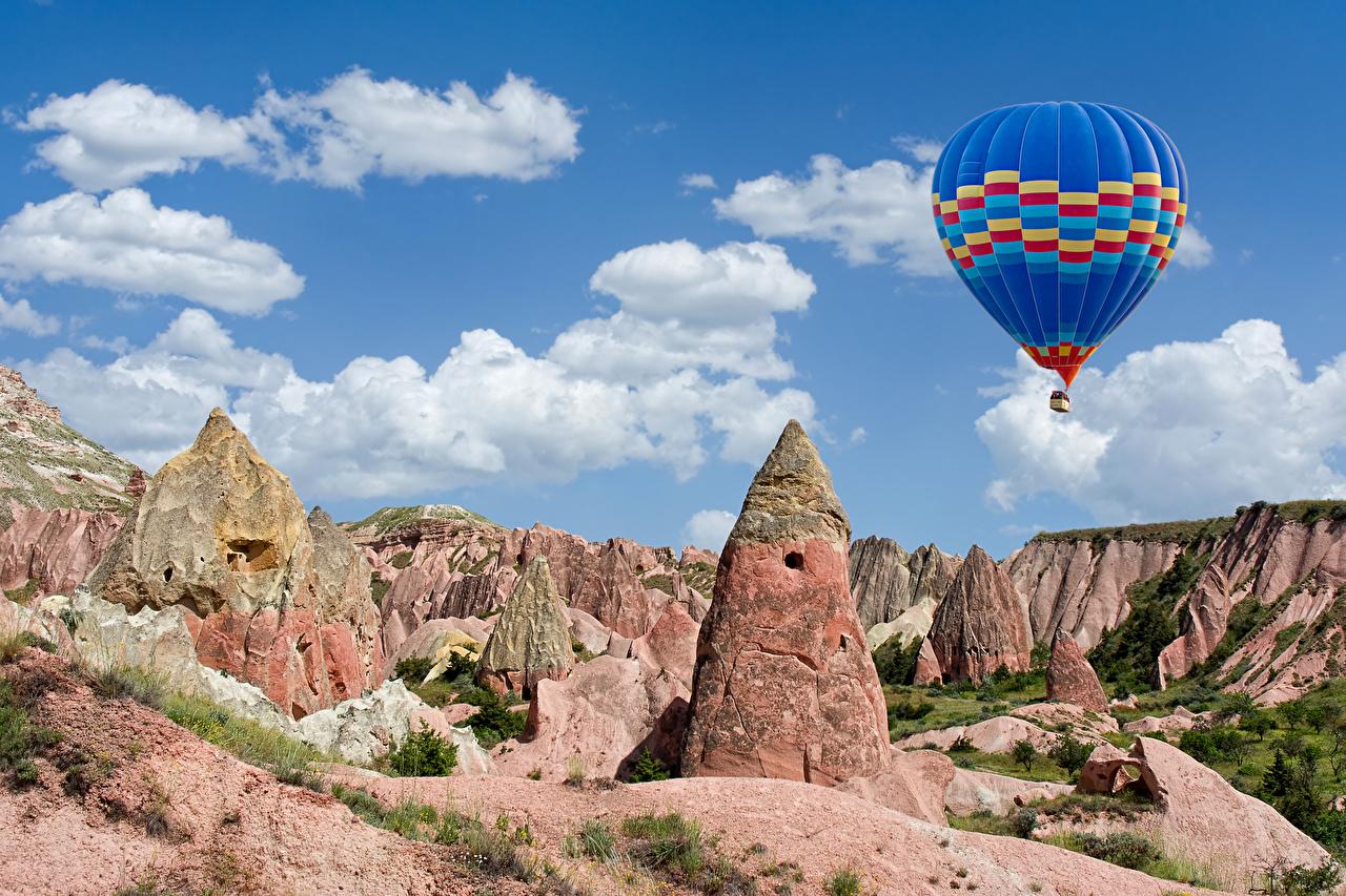 Фотография Турция Воздушный шар Cappadocia Goreme national park Скала Природа Парки аэростат Утес скалы скале парк