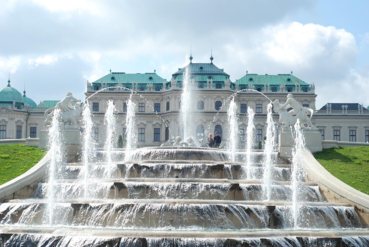 Фотографии Вена дворца Австрия Фонтаны Palace complex Belvedere Города скульптура Дворец город Скульптуры