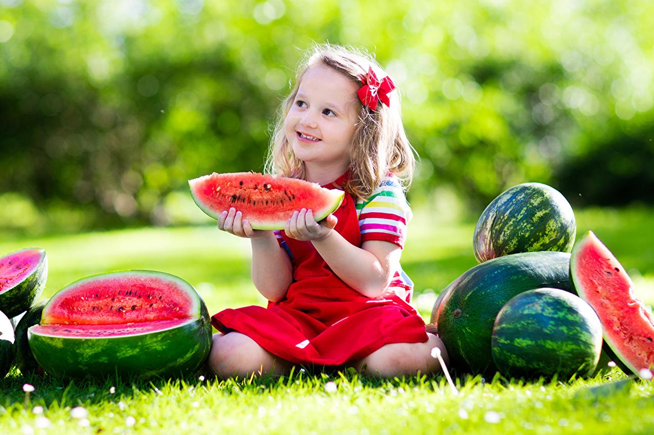 Картинки девочка улыбается Дети Кусок Арбузы траве Девочки Улыбка Ребёнок часть Трава