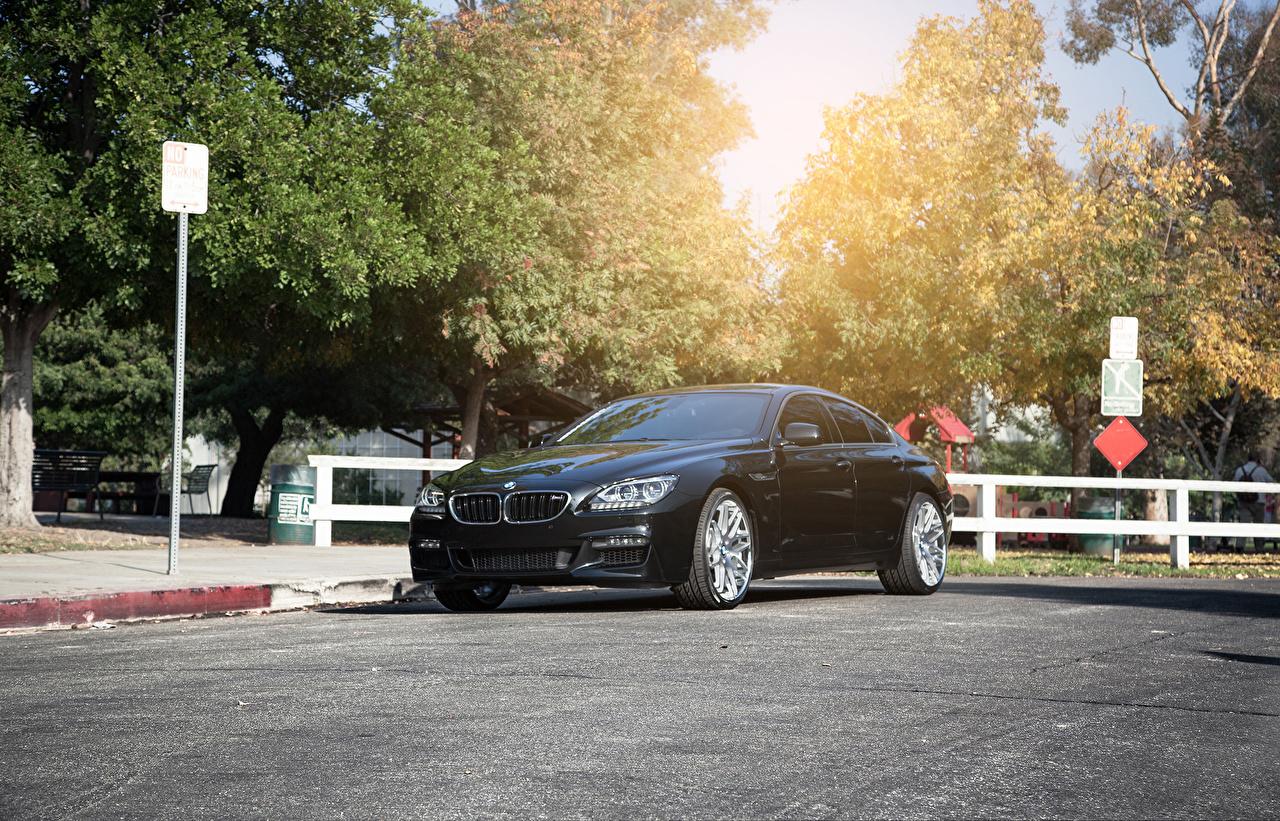 Картинка BMW F13 640i Vertini черная асфальта Автомобили БМВ Черный черные черных авто машины машина Асфальт автомобиль