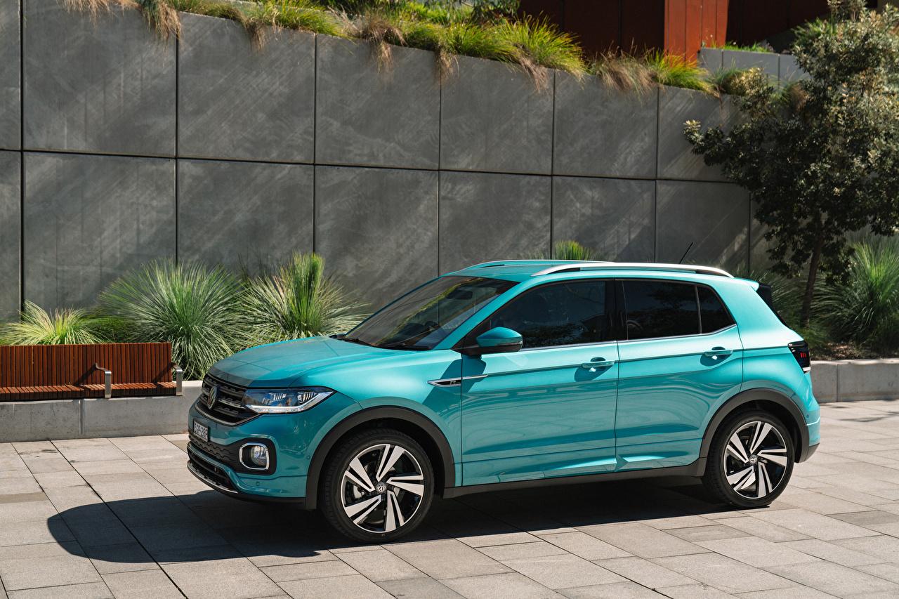 Обои для рабочего стола Volkswagen CUV 2020 T-Cross R-Line голубая авто Фольксваген Кроссовер Голубой голубые голубых машина машины Автомобили автомобиль