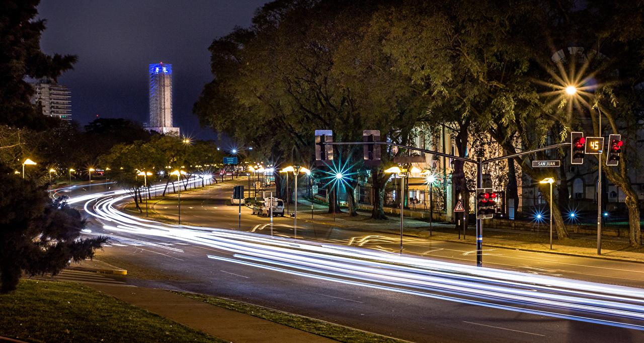 Обои дома, улица, фонари, движение, ночь. Города foto 12