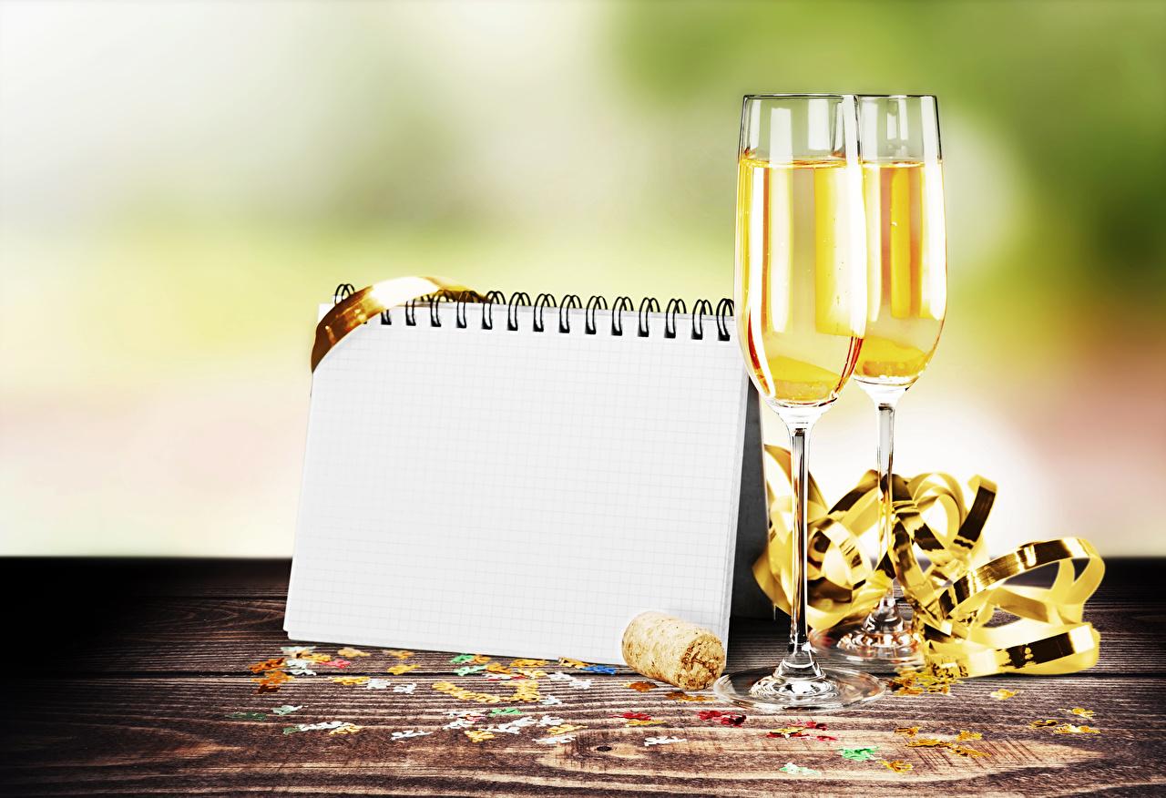 Фото Блокнот два Шампанское бокал Продукты питания Шаблон поздравительной открытки 2 две Двое вдвоем Игристое вино Еда Пища Бокалы
