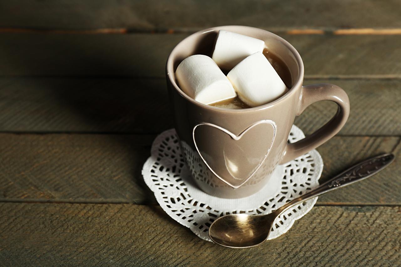 Фотографии зефирки Какао напиток Еда Ложка Чашка Маршмэллоу Горячий шоколад Пища ложки чашке Продукты питания