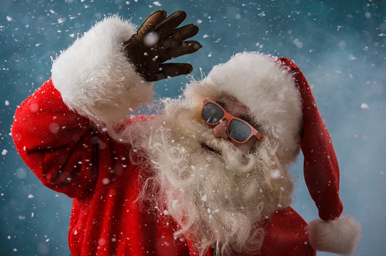 Картинки Новый год Перчатки бородой в шапке Снежинки Санта-Клаус Очки Рождество перчатках Борода бородатые бородатый Шапки шапка снежинка Дед Мороз очках очков