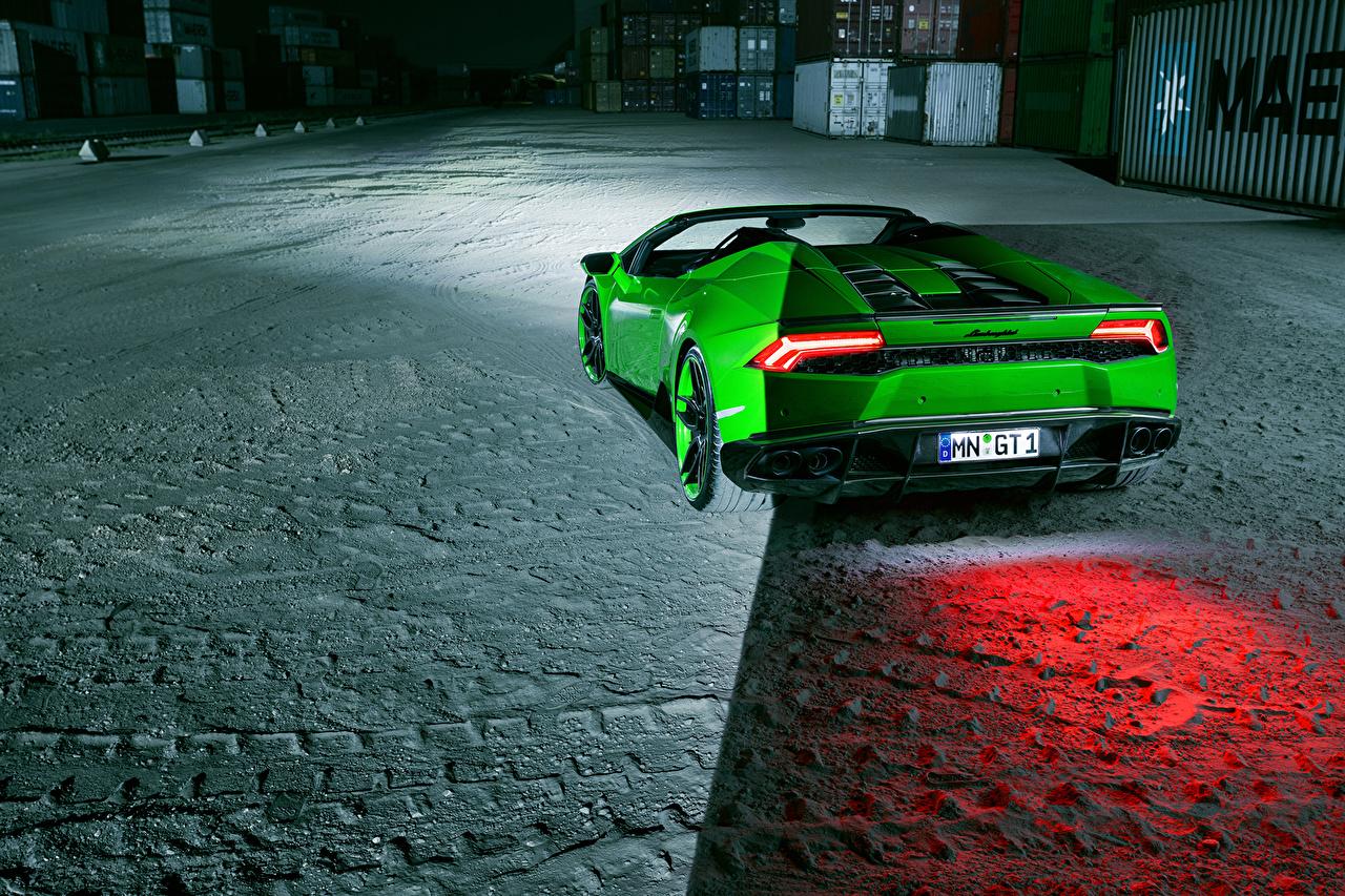 Обои для рабочего стола Lamborghini Spyder Novitec Зеленый вид сзади Автомобили Ламборгини зеленых зеленые зеленая авто Сзади машина машины автомобиль
