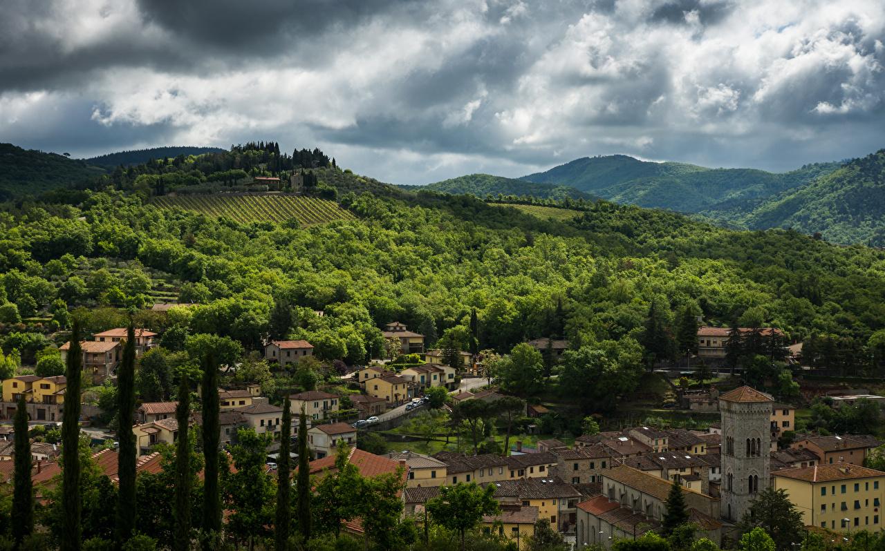 Обои Италия Chianti Поля Леса Холмы Дома Города Здания