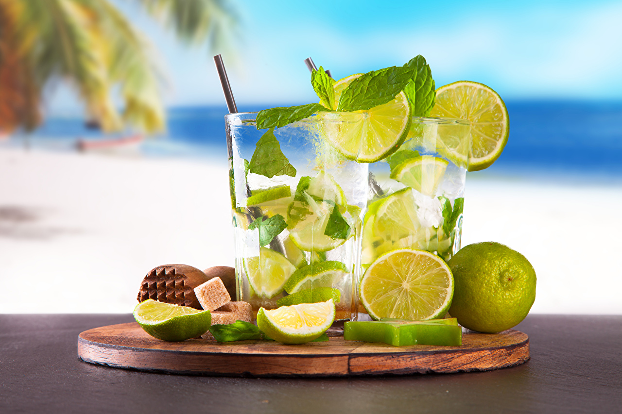 Картинки Лайм Стакан воде Продукты питания Напитки стакана стакане Еда Пища Вода напиток