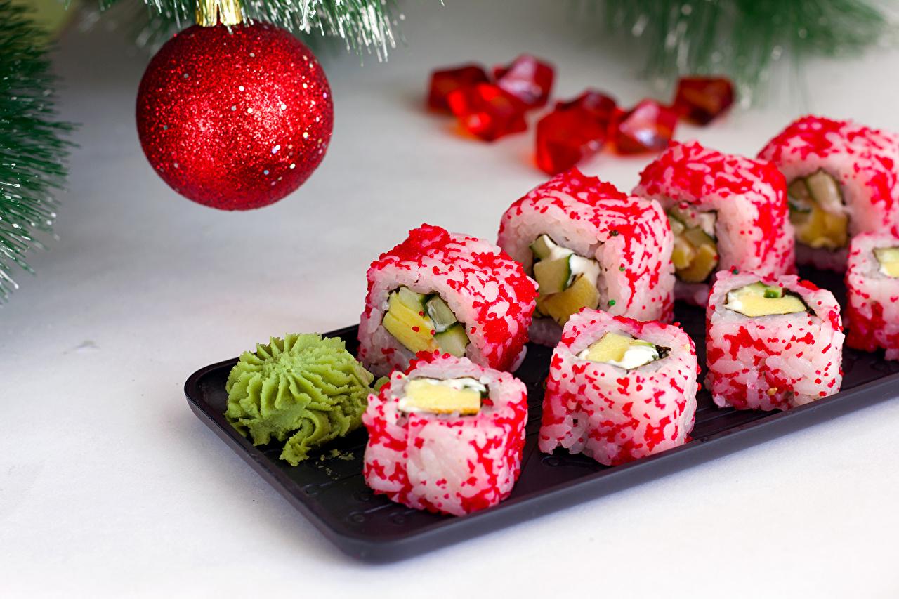 Фотографии Пища Рождество Суши Шар Рис Еда Продукты питания Новый год суси Шарики
