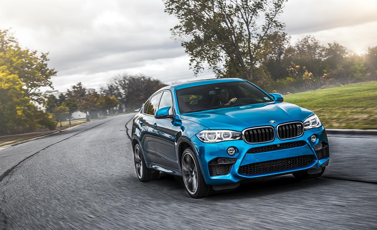 Фотографии БМВ Кроссовер F86 X6 M Голубой автомобиль BMW CUV голубая голубые голубых авто машины машина Автомобили