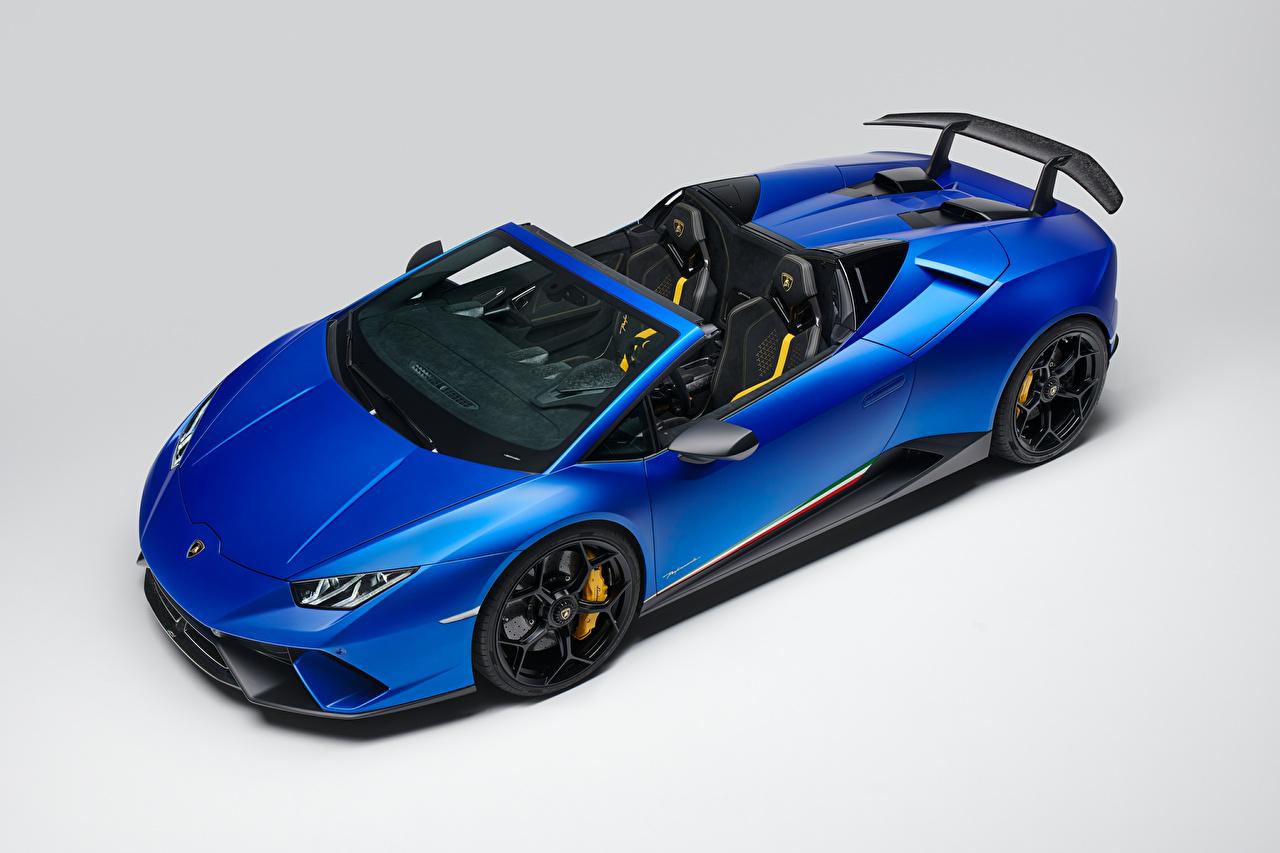 Обои Ламборгини 2018 Huracan Perfomante Spyder Worldwide Родстер Синий Автомобили Серый фон Lamborghini Авто Машины