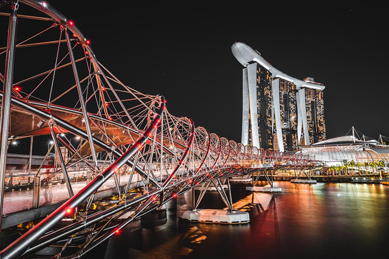 Фото Сингапур Marina Bay Sands Мосты Реки Ночь Города мост река речка ночью в ночи Ночные город