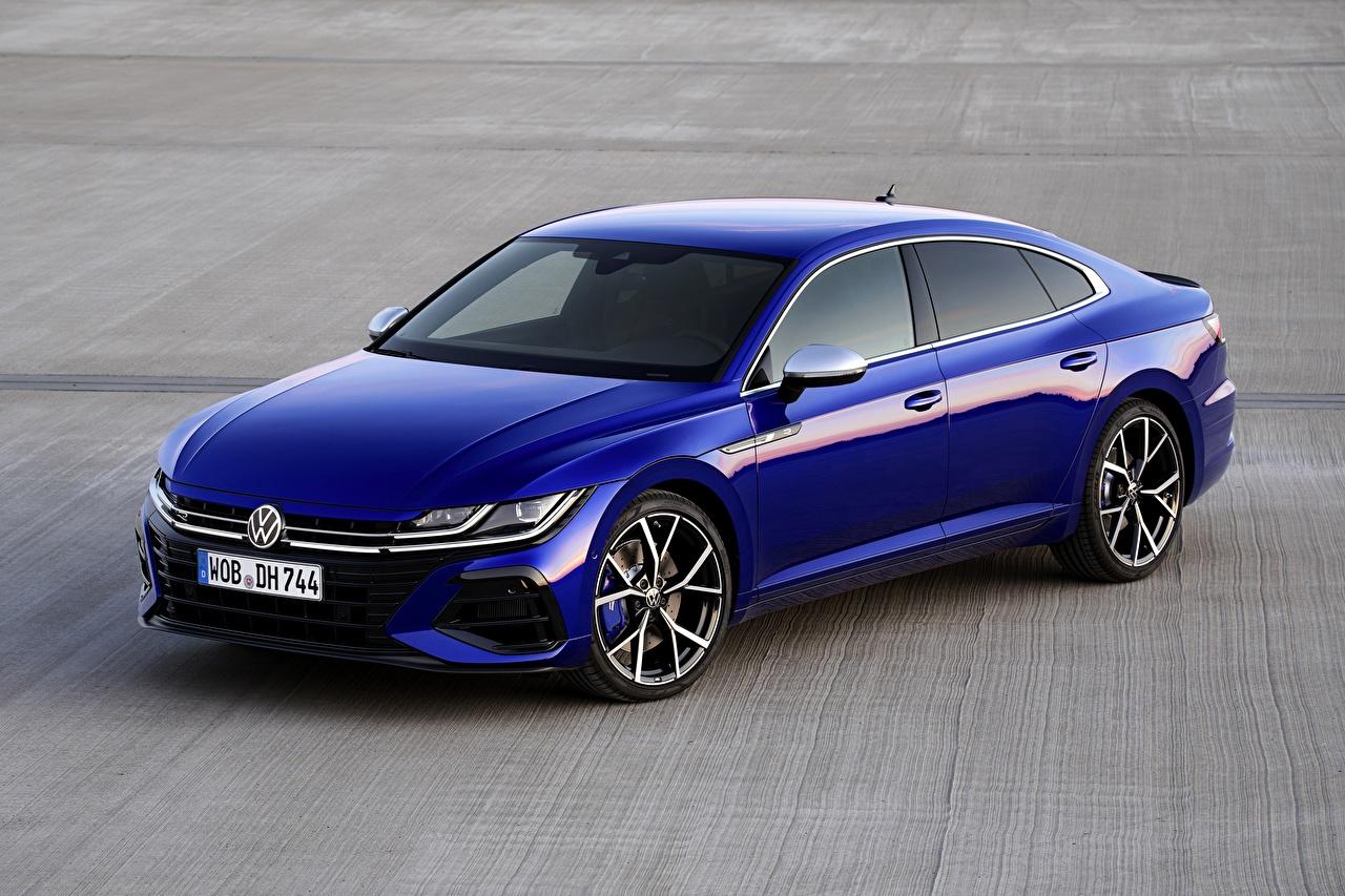 Картинки Volkswagen Arteon, R-Line, 2020 синих Металлик Автомобили Фольксваген Синий синие синяя авто машина машины автомобиль