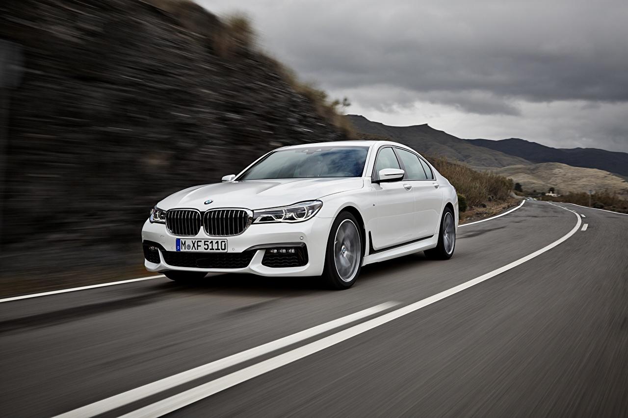 Фотографии БМВ BMW 7 G11 / G12 белая Дороги автомобиль Белый белые белых авто машины машина Автомобили