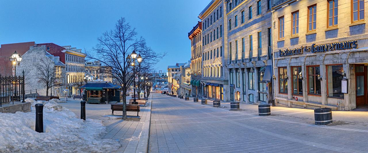 Картинка Канада Montreal Quebec зимние Улица Вечер Уличные фонари Дома Города Зима улиц улице город Здания