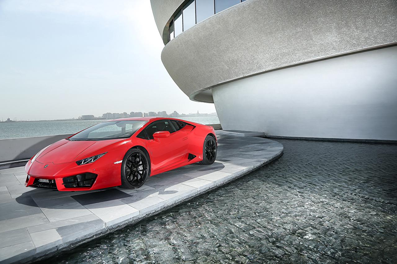Фотографии Ламборгини 2015 Huracán LP 580-2 (LB724) дорогие Красный Автомобили Lamborghini люксовые Роскошные Авто Машины