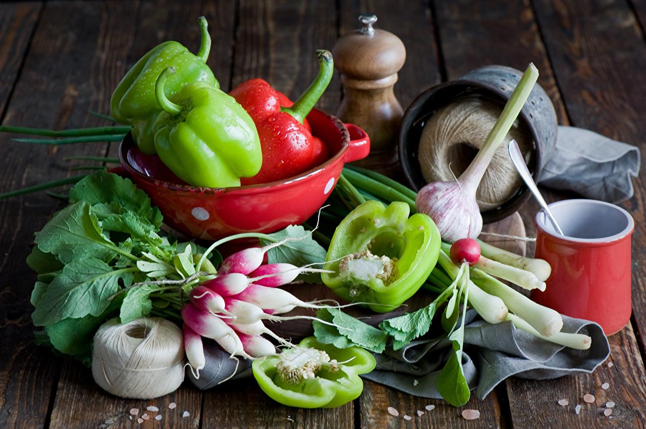 Фото Редис Чеснок Овощи Перец Продукты питания Еда Пища перец овощной