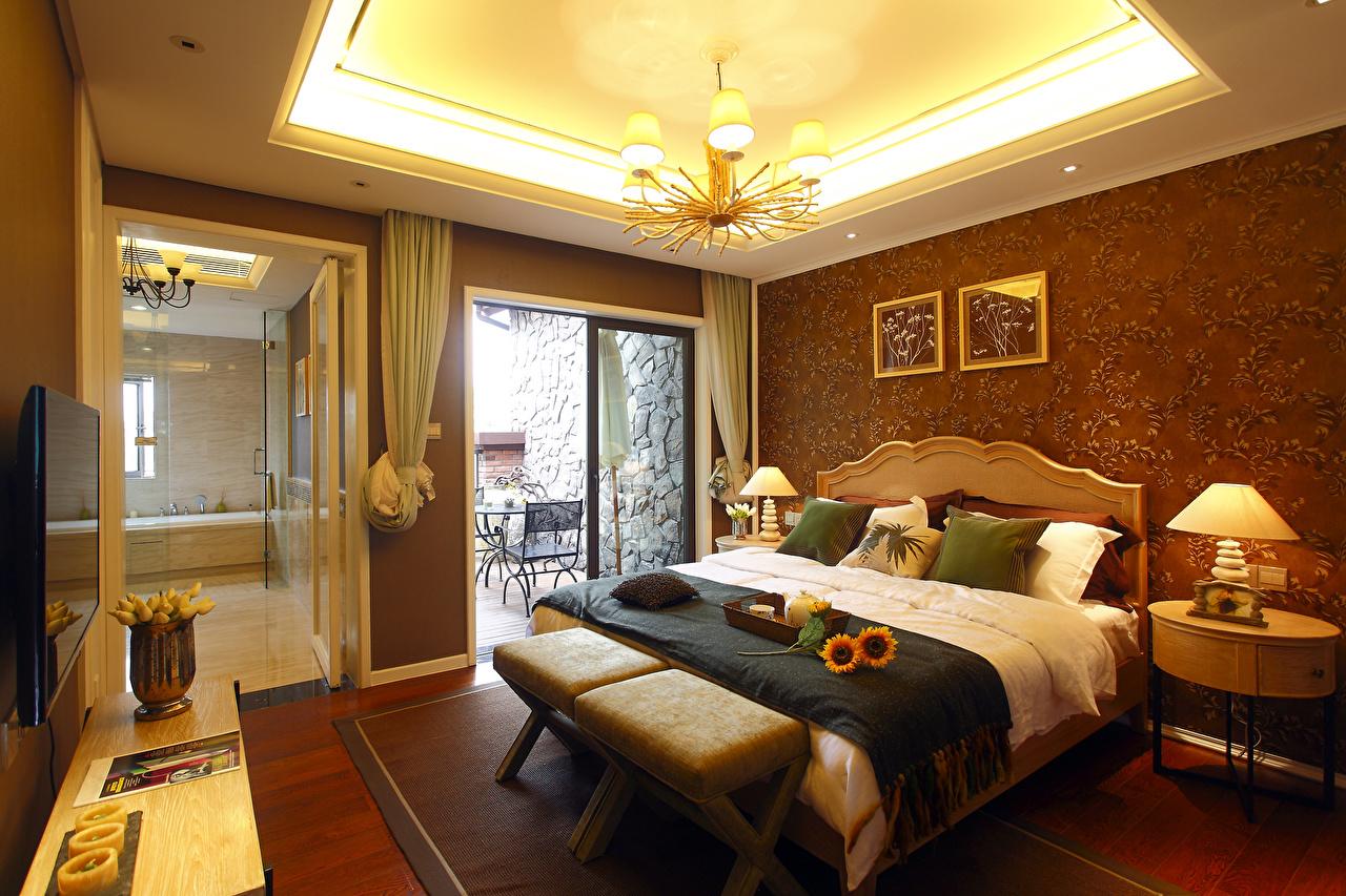 Обои Спальня Интерьер Лампа Люстра Кровать Дизайн