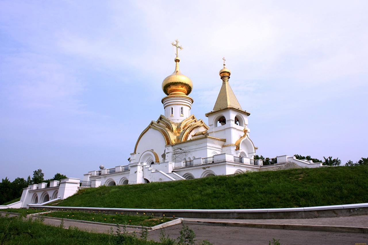 Фотография Церковь Россия Khabarovsk territory, Temple Of Seraphim Of Sarov, Khabarovsk Купол Города