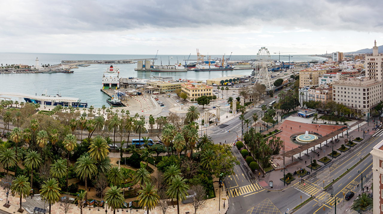 Фотография Испания Городская площадь El Bulto Malaga Andalusia Дороги Корабли Причалы Дома Города Пирсы Пристань Здания