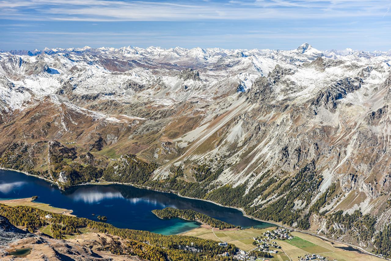 Фото Альпы Швейцария Горы Природа Озеро Сверху альп гора