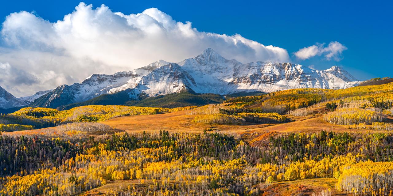 Картинка америка Wilson Peak, Colorado гора Осень Природа Пейзаж облачно США штаты Горы осенние Облака облако
