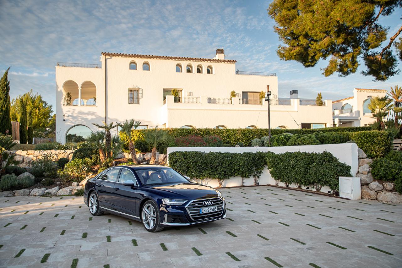 Фотография Audi 2019-20 S8 Worldwide синих машины Металлик Ауди синяя синие Синий авто машина Автомобили автомобиль