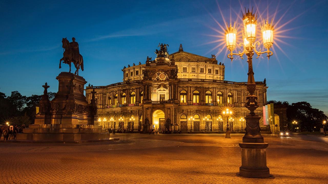 Фотография Дрезден Германия улице Вечер Уличные фонари Города улиц Улица