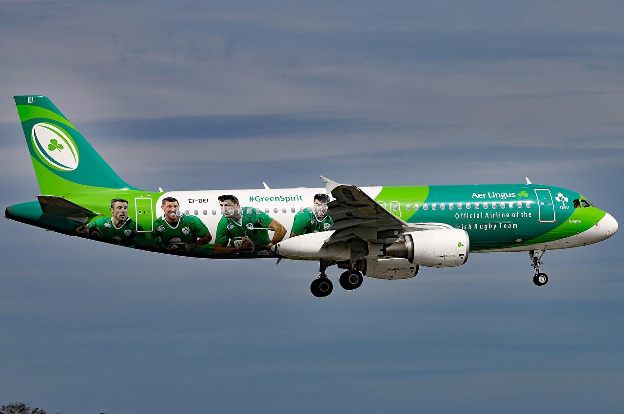 Фотография Airbus Самолеты Пассажирские Самолеты A320-214 Полет Авиация Эйрбас летящий