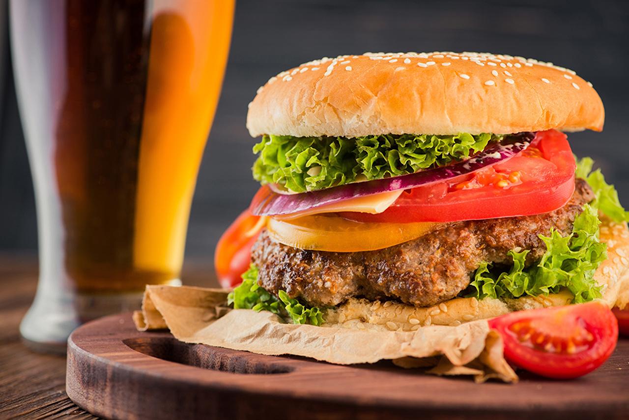 Картинка Гамбургер Булочки Фастфуд Овощи Продукты питания Быстрое питание Еда Пища