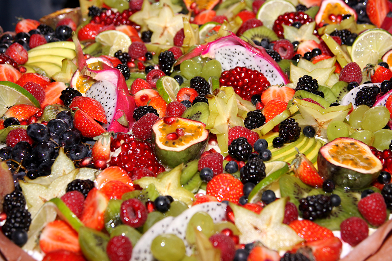 Фото Ягоды Фрукты Продукты питания Много Еда Пища
